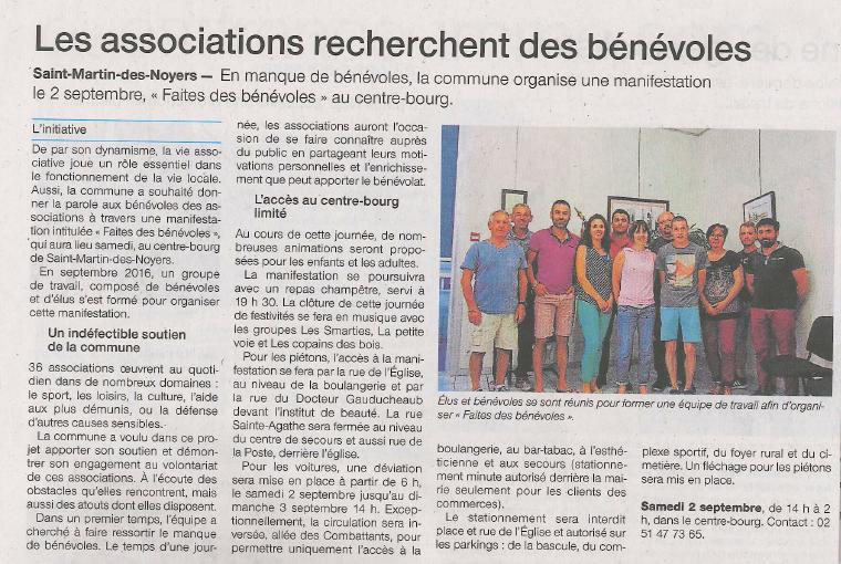 Article ouest France Faites des Bénévoles